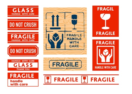 Shipping Handle with care, Fragile and Glass stickers and stamps Vector
