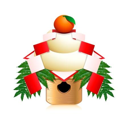 superstition: Japanese New Year decoration Kagami mochi (mirror rice cake)