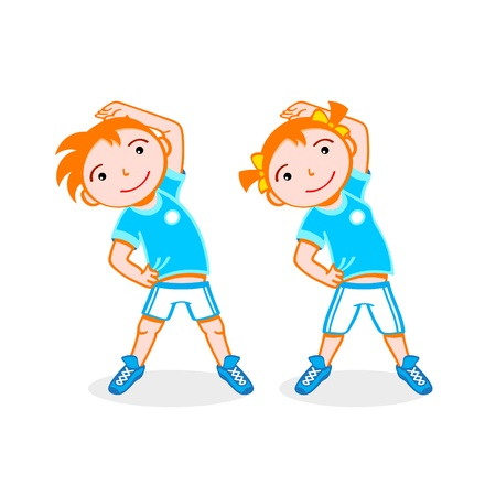 sport cartoon: Cheerful boy and girl do stretching exercise Illustration