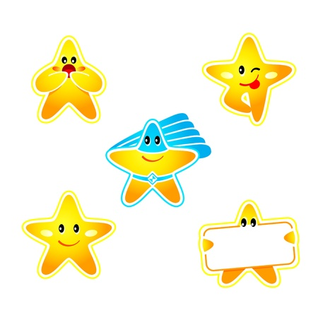 smiley icon: Emotion, banner and super hero star stickers isolated