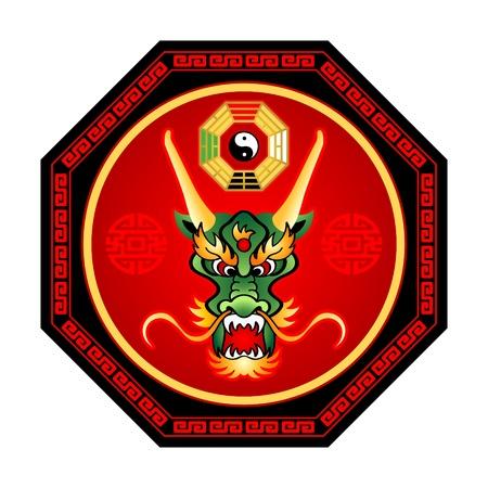 taoisme: Feng Shui draak Octogram met bagua yin-yang geïsoleerde