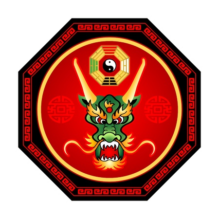 saluta: Feng Shui drago octogram con bagua yin-yang isolato Vettoriali