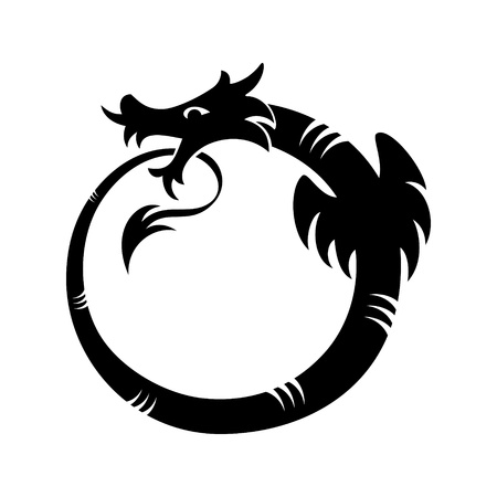 dragon tattoo: Ouroboros (dragon eating its own tail) tattoo isolated