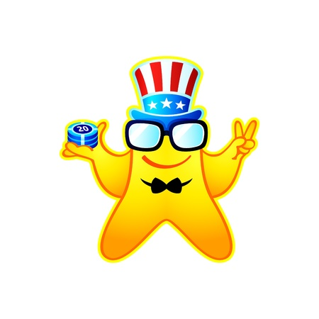 Colorful casino boss smiley or mascot Vector