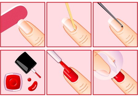 Steps for professional manicure making Vector