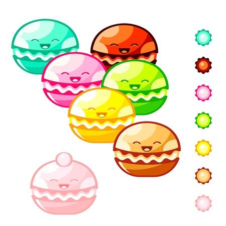 Cute macaron cookies and color symbols 矢量图像