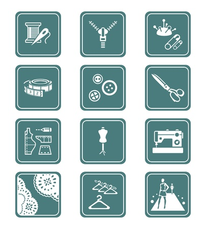Fashion industry tools and objects teal contour icon-set Vector