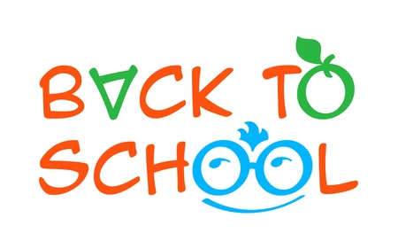 four eyes: Back to school with four eyes boy, apple and for all symbol