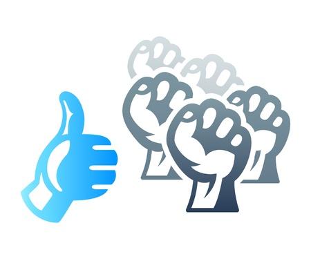 derechos humanos: Medios de comunicación social de protesta inspirado concepto huelga