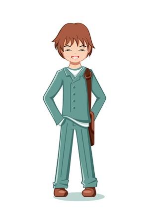 Cheerful teenage boy in school uniform
