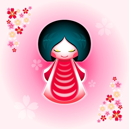 Spring japanese kokeshi doll with sakura flowers ornament Vector