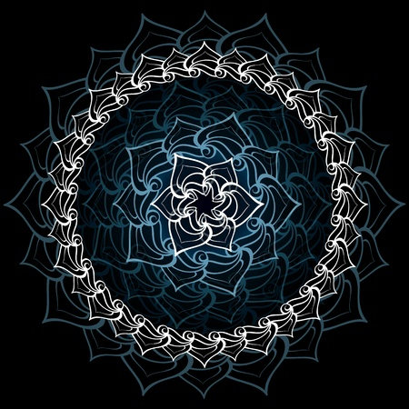 onam: Abstract sacred lotus mandala over bluish black Illustration