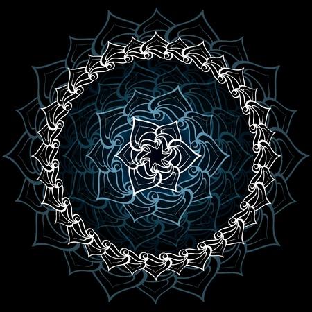 Résumé lotus sacré mandala plus noir bleuâtre
