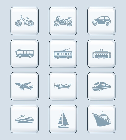 Modern and vintage road, air and water vehicles icon-set Vector