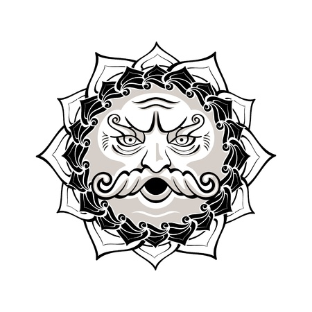 black gods: Powerful wind god blowing decorated contour symbol Illustration