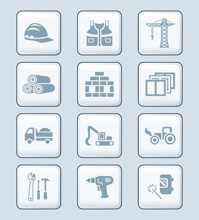 Construction tools, transportation, materials and more icon-set Vector