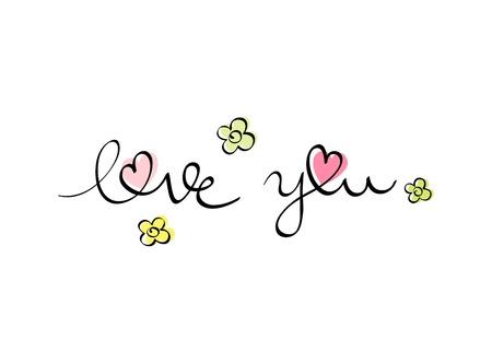 """Scritta a mano """"ti amo"""" le lettere con i fiori Vettoriali"""
