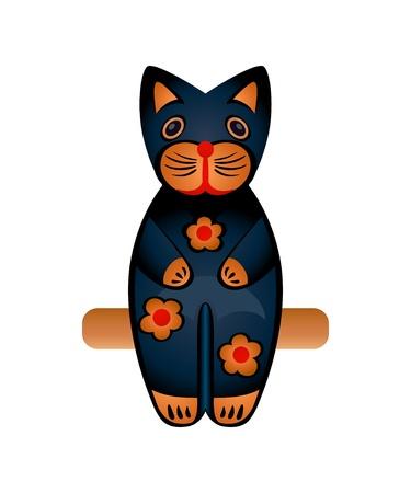 Balinés de madera tallada se siente juguete de gato negro aislado