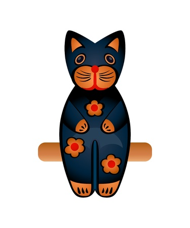 Balinese wood sit carved black cat toy isolated