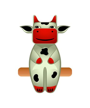 spa resort: Balinese wood sit carved cow toy isolated