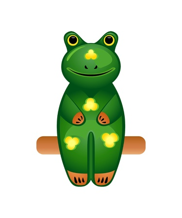 painted wood: Balinese wood sit carved frog toy isolated