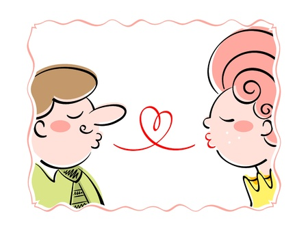 Adult couple blowing the love kisses Vector