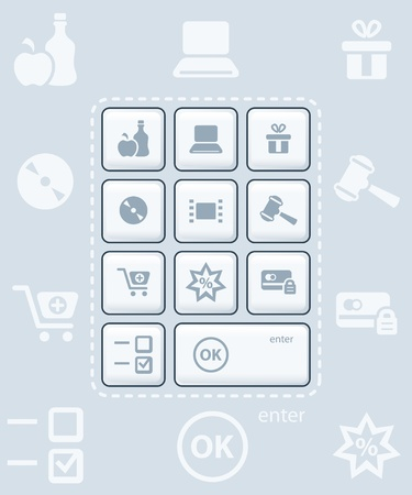 Modern glossy keyboard or icon-set for online shopping Vector