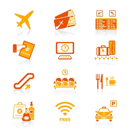 airport lounge: Airport services and objects icon-set in red-orange