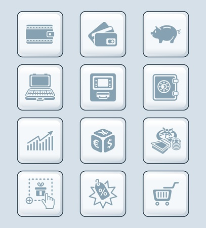 e wallet: All about earning, saving and spending money icon-set