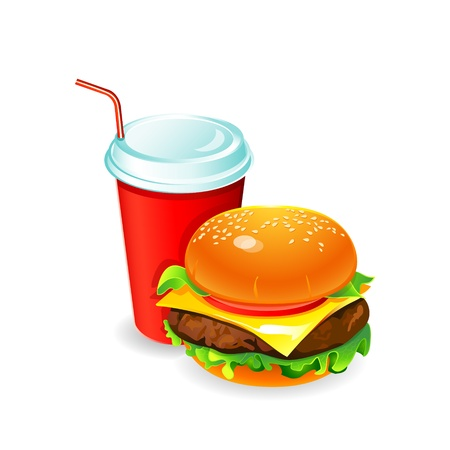 cheese burger: Colorful hamburger and soda drink isolated