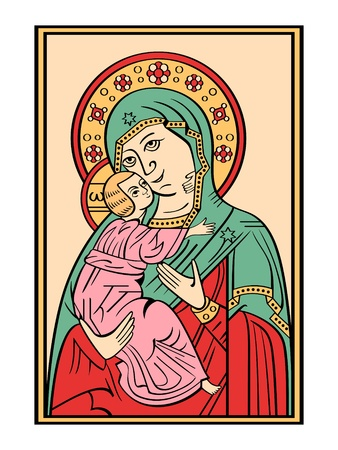 Folk russian lubok drawing of Bogoroditsa (Virgin Mary) with baby Jesus Vector