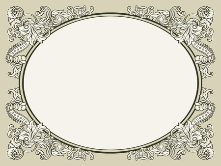 Oval vintage floral decorated bookish frame Vector