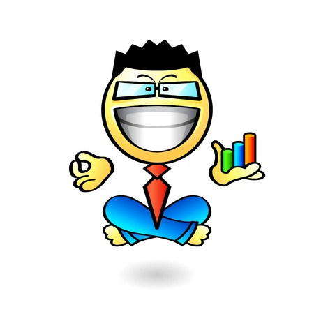 Happy businessman meditating in yoga padmasana Stock Vector - 12326994