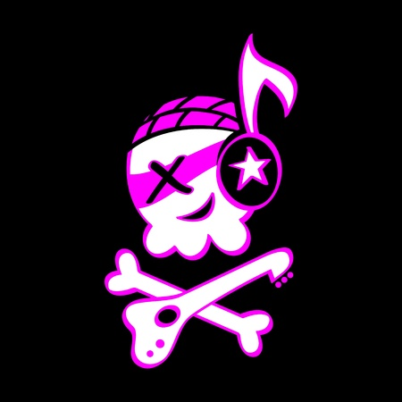 Funny skull symbol for punk or rock music Vector