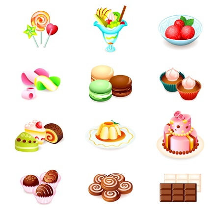 Colorful icons with yummy sweets isolated Vector