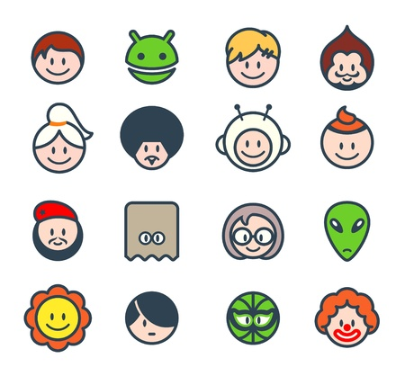 Characters for social networks or forum avatars Stock Vector - 12327000