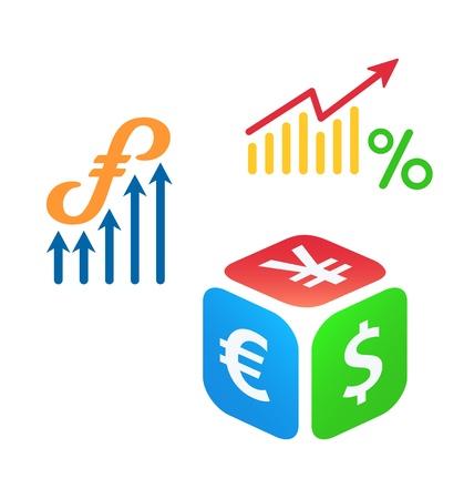 Forex trading logo concepten Stock Illustratie