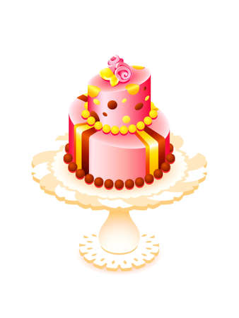 cake stand: Big decorated cake for birthday or party isolated