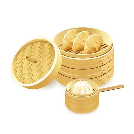 Étuveuses en bambou avec boulettes de gyoza et baozi