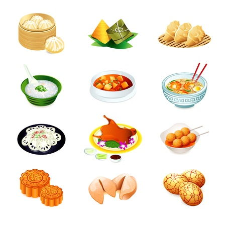 fried noodles: Colorful realistic icons of chinese popular food
