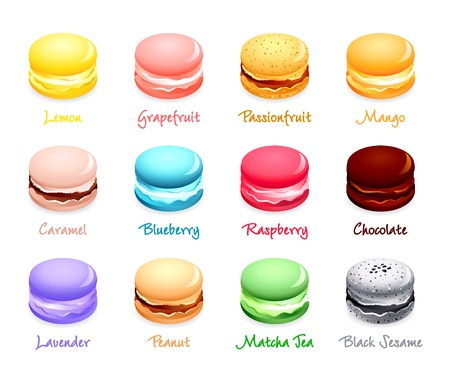 Colorful french macaron cookies with different flavors