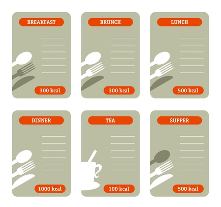 Meal calorie cards Stock Vector - 12495222