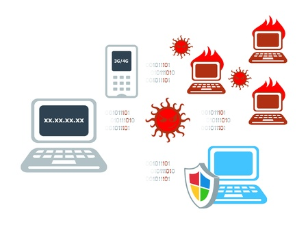 computer attack: Computer virus attack and anti-virus solution Illustration