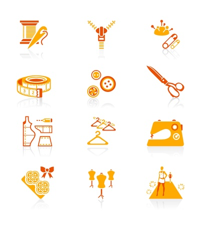 Fashion industry tools and objects red-orange icon-set Vector