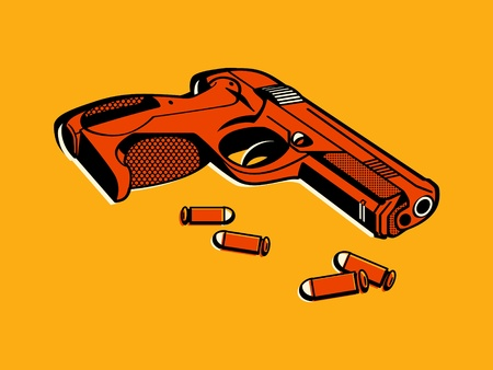 thriller: Gun with bullets in retro three color print halftone pattern