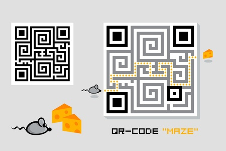 Fun maze QR-code with cheese-mouse game Vector