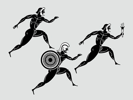 Ancient greek Sparta runners following the flame torch Vector