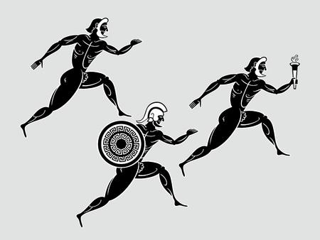 antigua grecia: Los antiguos griegos corredores Sparta después de la antorcha de llama Vectores