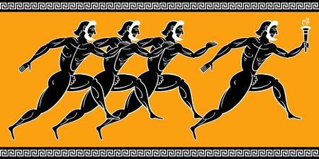 grec antique: Anciens coureurs grecs avec la torche Illustration