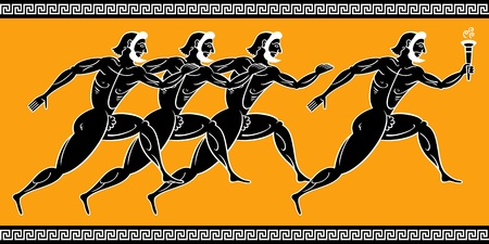 Ancient greek runners with torch Vector